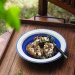 Bakłażany baby z serem Manouri, suszonymi pomidorami i ogrodowym ziołem. Jestem na tarasie!