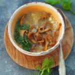 Zupa kurkowa z kaszą jaglaną i lubczykiem